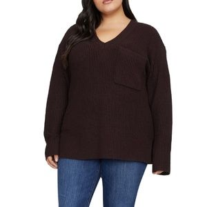 Sanctuary Women's Shaker V-Neck Pocket Sweater